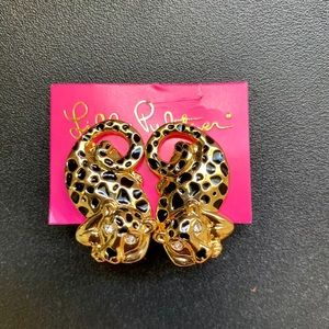 Lilly Pulitzer Leopard Goldtone with Black Posts